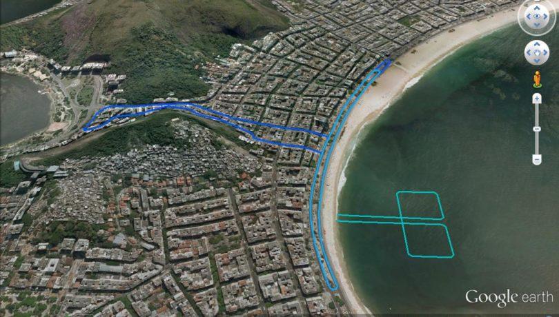 Mapa do percurso do evento-teste olímpico de triathlon
