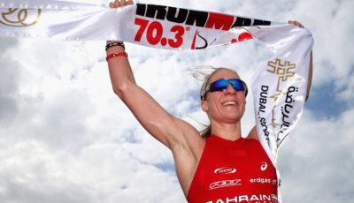 DUBAI, UNITED ARAB EMIRATES - JANUARY 29: Daniela Ryf of Switzerland celebrates winning the Women's IRONMAN 70.3 Dubai on January 29, 2016 in Dubai, United Arab Emirates.  (Photo by Warren Little/Getty Images for Ironman)